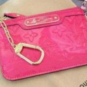 Limited edition hot pink Louis Vuitton key wallet